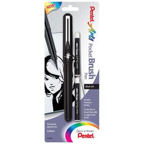 Caneta Pincel Recarregável Pentel Pocket Brush E Refil Carga