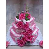 Torta Casamiento 15 Años 3 Pisos Personalizada Envios