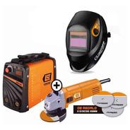 Soldadora Inverter Iron 250 + Amoladora 680w + Mascara Fotos