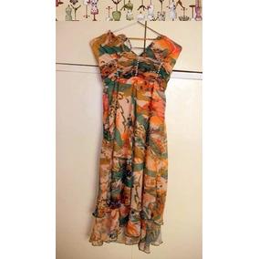 Vestido De Gasa Naranja Con Flores