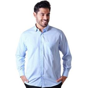 Camisa Social Listrada Masculina Algodão F01755a Azul Claro