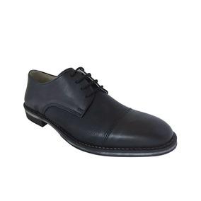 Zapato De Punta Acordonado De Cuero Di Nizo 853/1 Negro