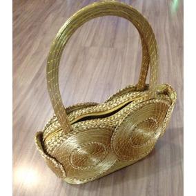 Bolsa Em Capim Dourado Com Alça De Mão