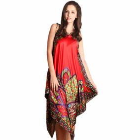 Vestido Camisola Túnica Chemise Cetim Estampada