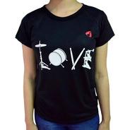 Camisa Love Bateria Baterista Drums - Music Música - Sienm
