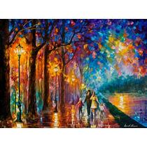 Family By The Lake-pintura Al Oleo En Lienzo Por L Afremov