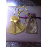 Set De 2 Bolsas De Organza Color Amarilla Y Color Dorado