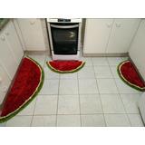 Jogo Tapete Cozinha 3 Peças Malha Gel Fru Fru Melancia