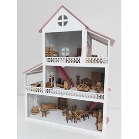 Casinha De Boneca Polly Mdf Pintada Com Kit Móveis Casa