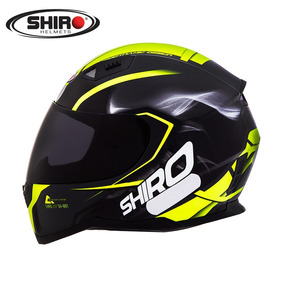 Capacete Shiro Sh881 Motegi Black/fluor + Viseira Fume