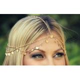 Headband Danca Do Ventre Moedas Dourada Tiara Corrente Boho