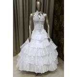 Vestido Noiva Princesa, Corpete E Saia,bordado Chatons