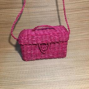 Bolsa De Palha Personalizada Baúzinho Mini - Pink