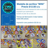 Medalla Impresa Full Color Modelo Mini $12.00