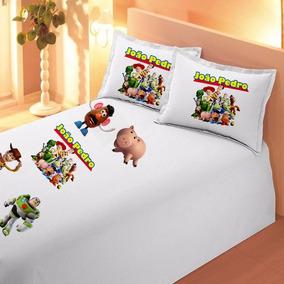 Lençol + Fronha Toy Story Infantil Personalizada Com Nome