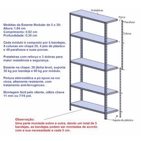 Estante De Aço Modular Com 5 Bandejas De 0,30 X 0,92 Cm