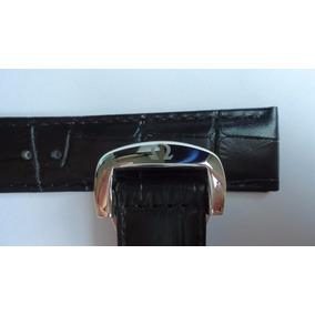 Pulseira Relógio Omega 20mm Couro Preta C/ Prata Deployant