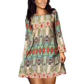 Moda Asiatica Vestido Tunica Estilo Vintage Bohemio Talla G