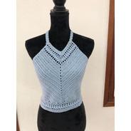 Crop Top Crochet Azul Largo