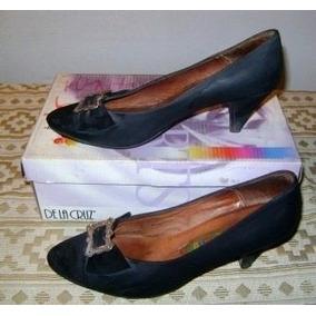 Zapatos Finos Calzature Nobuk Negro Con Aplique - N° 37