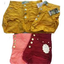Shorts Hot Pants Coloridos Cintura Alta Roupas Femininas