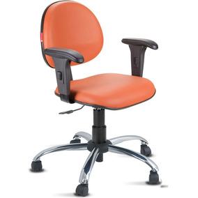 Cadeira Escritório Laranja Cromada Com Braços