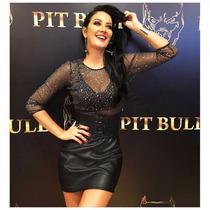 Vestido Justo Preto Pit Bull Pitbull Jeans Nova Coleção 2017