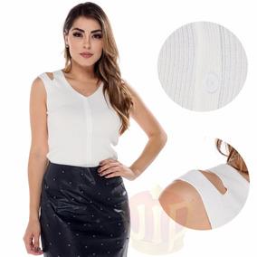 Blusa Regata Feminino Canelada C Botão E Detalhe Fashion Top