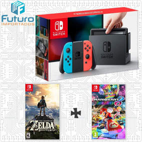 Nintendo Switch Neon + Zelda Breath Of The Wild + Mario Kart