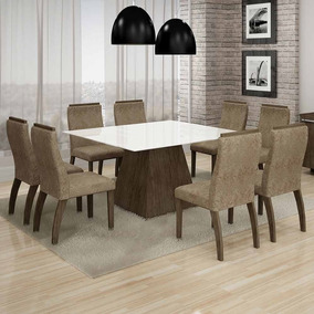 Mesa Grecia 140x140 Cm C/ 8 Cadeiras Euro Vidro Branco Sued