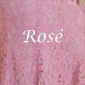 Vestido de renda bordado rosa