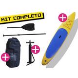 Kit Tabla Stand Up Paddle Inflable 140kg Amarilla Nautica