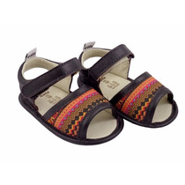 Sandália Infantil Lolla Hippie Velcro Em Couro Preta - Catz