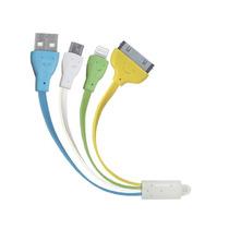 Kit 10 Cable Plano Multicargador Usb 3 Salidas Luz Mitzu