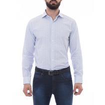 Camisa Social Manga Longa Slim Estampada Colarinho Italiano