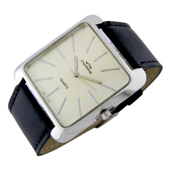 Reloj Montreal Hombre Ml740 Malla De Cuero Sintético