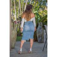 Saia Jeans Sol Midi Hot Pants Barra Desfiada 3298