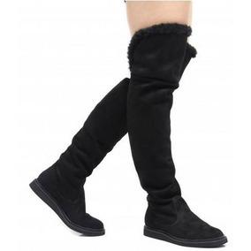 Bota Over Knee Com Pelo Sylt Rasteira Conforto Bota Inverno