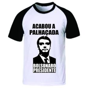 Camiseta Bolsonaro Raglã Malha 100% Algodão