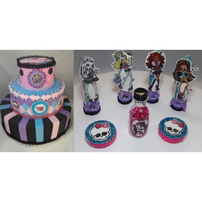Kit Festa Bolo Fake E 50 Lembrancinhas Monster High