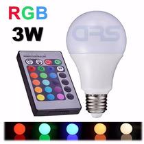 Lâmpada Led Bulbo Rgb 3w E27 Bivolt Colorida Controle Remoto