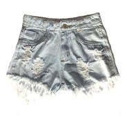 Shorts Jeans Feminino Cintura Alta Hot Pants Destroyed St025
