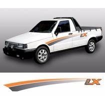 Kit De Faixas Adesivo Pick-up Fiat Fiorino Lx 94 Laranja 3m
