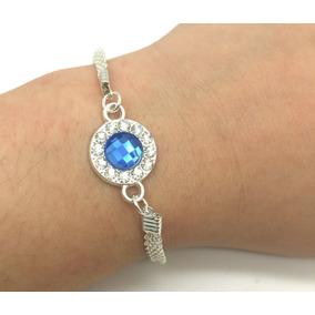 Fashion Pulseira Anel Prateada Com Pedra Azul Strass