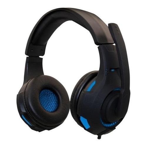 Audífonos gamer Naceb NA-0304 negro y azul con luz LED