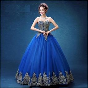 Vestido azul rey y dorado