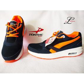 Tenis Pontiac Marino Naranja Correr Gym Barato Económico