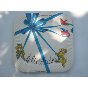 Antiguo Plato De Carton Las Ardillas De Disney