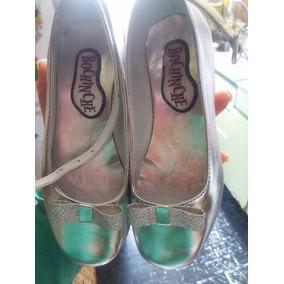 Zapatito Zapato Nena Fiesta Balerina Sandalia Plateado 30