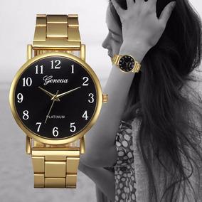 Relógio Feminino De Luxo Geneva Platinum Pulseira De Aço